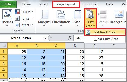 how to set print area to multiple worksheets at once time in excel