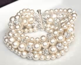 bridesmaid bracelet pearl cuff bracelet chunky wedding bracelet by somethingjeweled