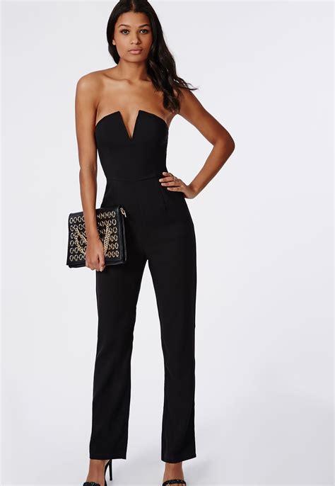 and black jumpsuit bandeau plunge wide leg jumpsuit black jumpsuits
