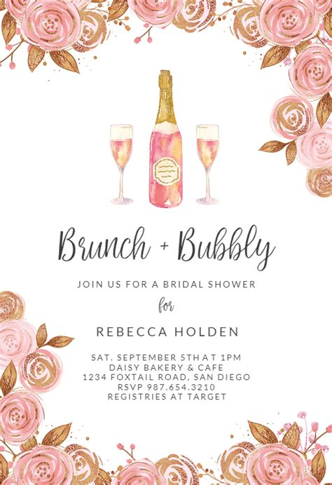 brunch bubbly bridal shower invitation template