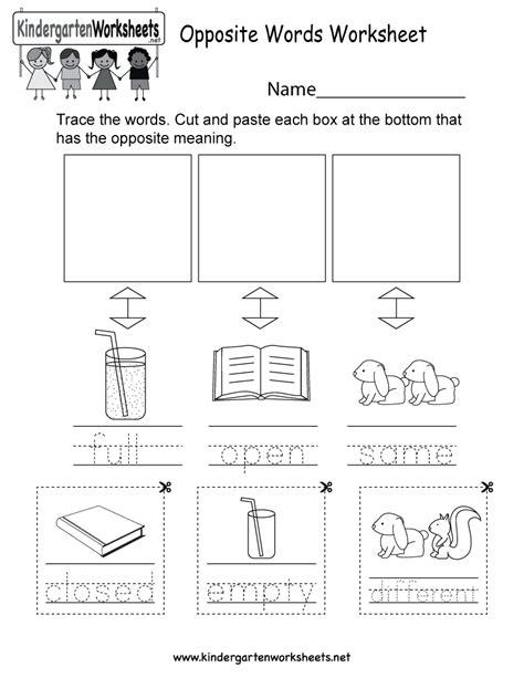 Opposite Meanings Worksheet  Free Kindergarten English Worksheet For Kids