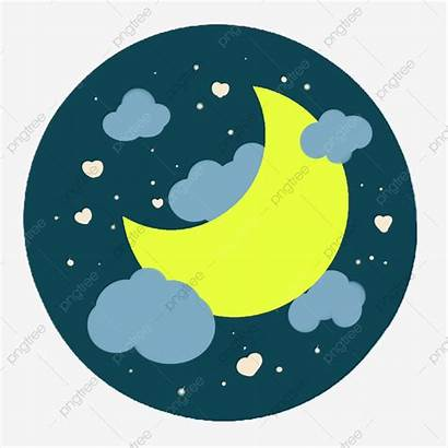 Moon Sky Stars Night Crescent Yellow Clipart