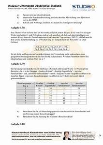 Mittlere Abweichung Berechnen : studeo aufgabensammlung deskriptive statistik ein merkmal ~ Themetempest.com Abrechnung