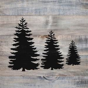 Pine, Trees, Stencil