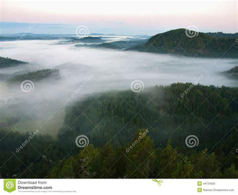 Dark Blue Fog In Deep Valley After Rainy Night. Rocky Hill
