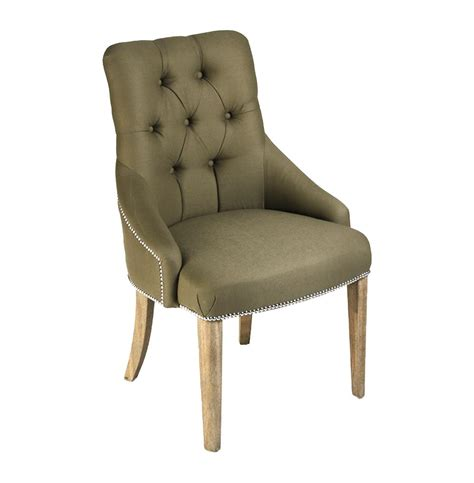 anneau olive linen tufted nailhead vanity dining chair