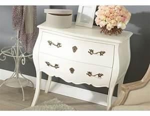 Commode Blanche Chambre : commode blanche baroque 2 tiroirs ou commode romantique blanche ~ Teatrodelosmanantiales.com Idées de Décoration