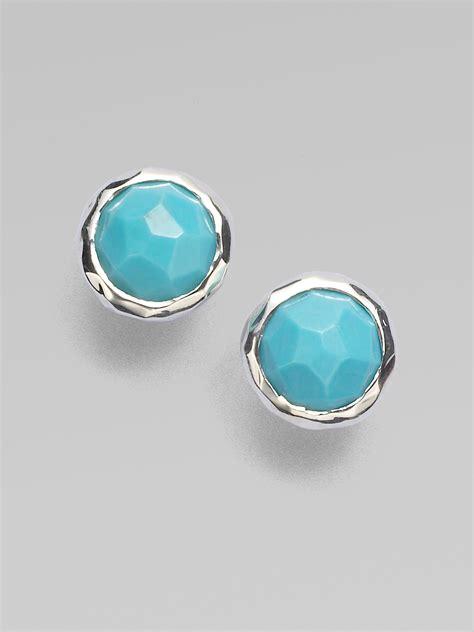 clip on earring earring lyst ippolita rock turquoise sterling silver