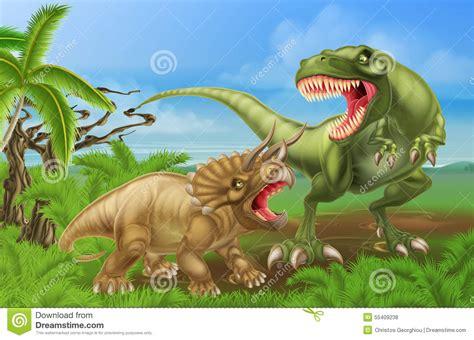 T Rex Triceratops Dinosaur Fight Scene Vector Illustratie