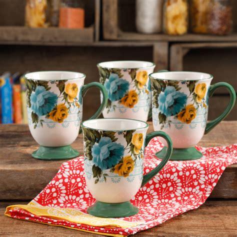 pioneer woman rose shadow dishes mug latte piece ounce walmart dish mugs microwave safe floral butter pepper salt salad plate