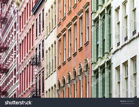 Colorful New York City Apartment by New York City Colorful Apartment Buildings Stock Photo
