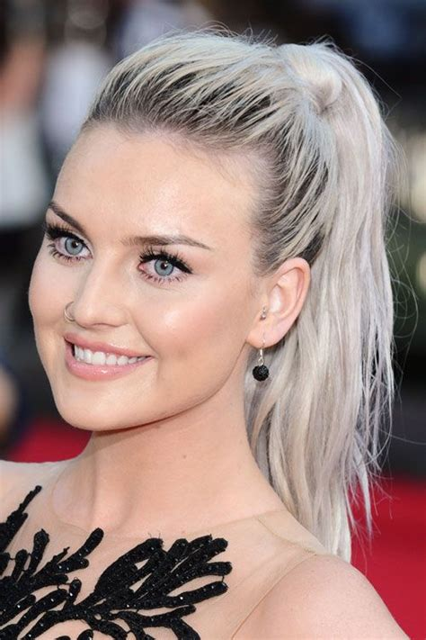 perrie edwards wavy silver dark roots ponytail hairstyle