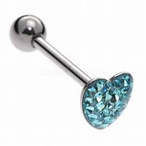 Steel Jewelled Heart Tongue Bar Blue Buy Jewellery