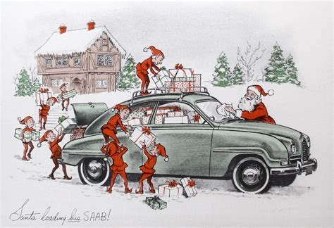 Saab Winter Holiday Greeting Cards From The 1950s