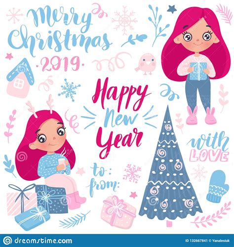 Merry Christmas And Happy New Year 2019 Vector Collection