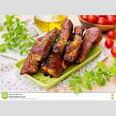 Barbecue Countrystyle Pork Ribs In Oven Stock Image