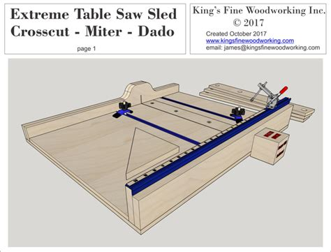 plans   extreme crosscut miter dado table  sled