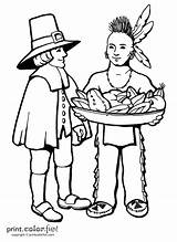 Thanksgiving Coloring Pages Printable Native Pilgrim American Indian Americans Throughout Internet Found Own Any sketch template