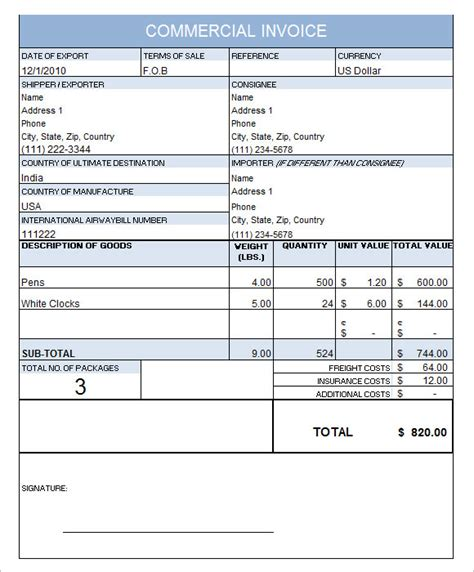commercial invoice templates   samples examples