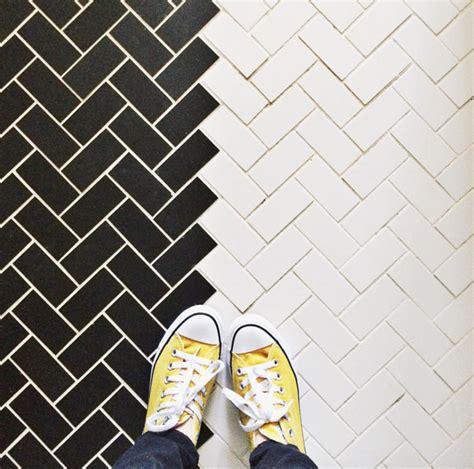 black and white herringbone tile subway tile designs inspiration a beautiful mess