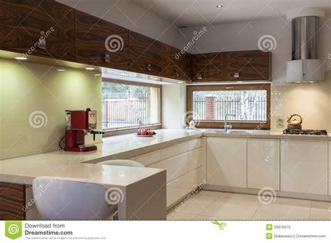 mobilia cuisine cucina con mobilia di legno immagine stock