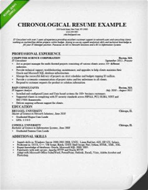 Chronological Resume Format Sle by Resume Format Guide Chronological Functional Combo