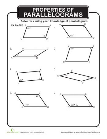 properties of parallelograms math worksheets and math