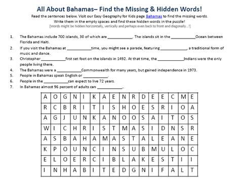 Bahamas Worksheet  Free Online Printable Earth Science Word Search Games