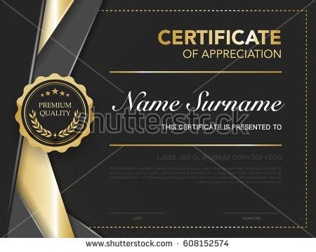 diploma certificate template black gold color stock vector