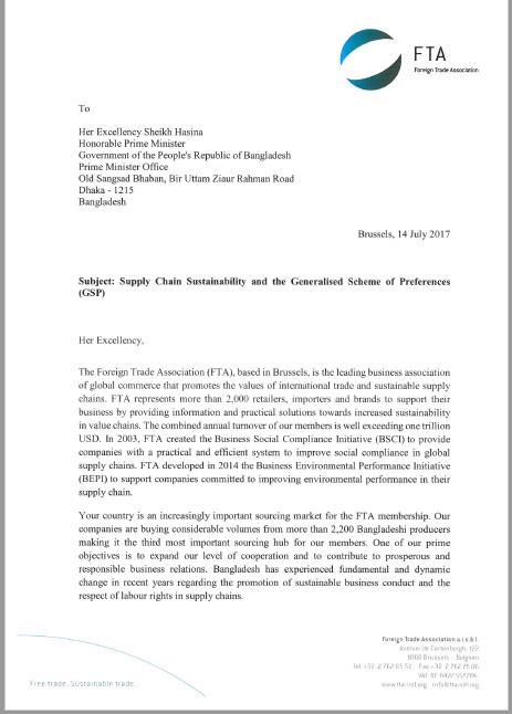 letter  pm bangladesh amfori
