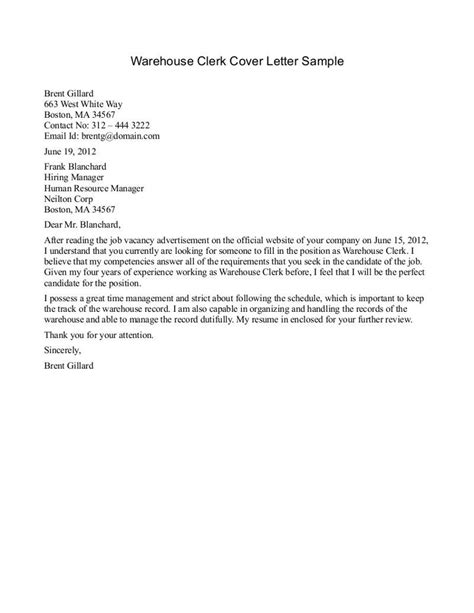 Cover Letter For Warehouse Manager Position by Warehouse Manager Resume Cover Letter Exles Krida Info