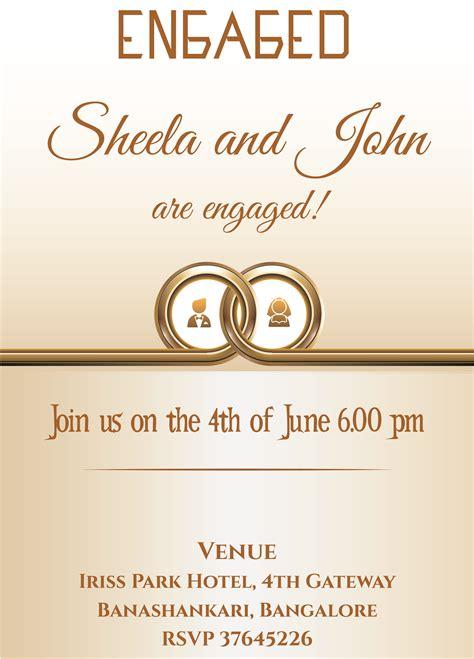 ring themed engagement invitation card  wordin