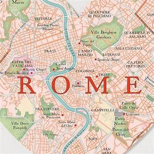 An Detailed Map Of Rome  Italy  Showing Main Places