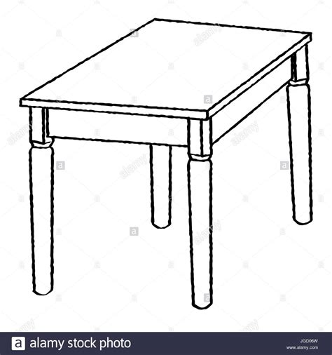 Hand Drawn Sketch Of Table Isolated, Black And White