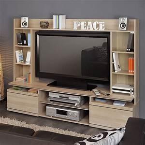 Meuble Tv Mural : meuble tv mural peace naturel ~ Teatrodelosmanantiales.com Idées de Décoration