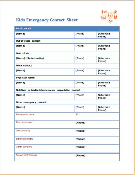 kids emergency contact sheet editable ms word template