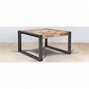 Table Basse Industrielle Carrée : table basse en bois recycl 60x60cm caravelle ~ Teatrodelosmanantiales.com Idées de Décoration