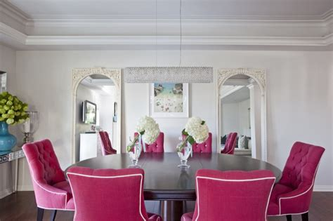 pink dining chairs contemporary dining room benjamin moore classic gray armonia decors