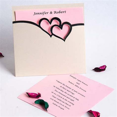 wedding invitations with hearts romantic pink and black double hearts pocket wedding