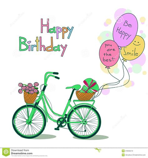 card  birthday  bicycle  balloons stock images
