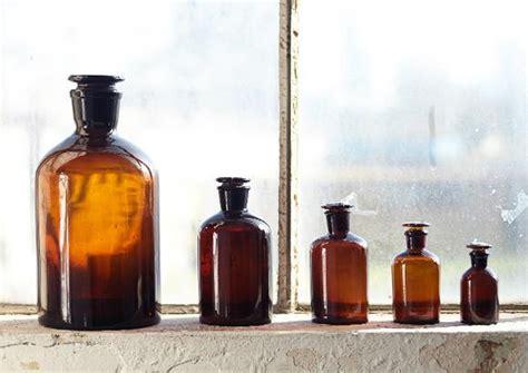science apothecary jars amber vintage  nostalgia
