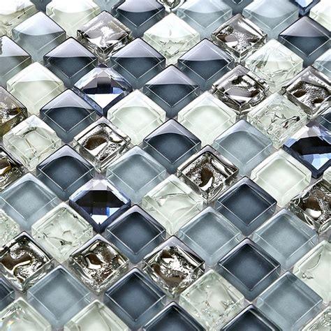 mini square smoky blue crackle crystal glass mosaic