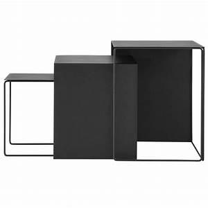 Couchtisch Schwarz Metall : ferm living couchtisch satz von drei schwarz metall ~ Eleganceandgraceweddings.com Haus und Dekorationen