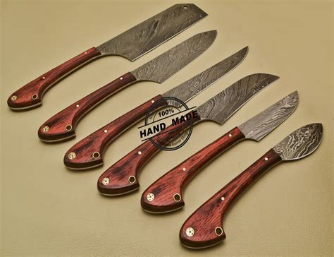 Lot Of 6 PCs Damascus Kitchen Set Custom Handmade Damascus