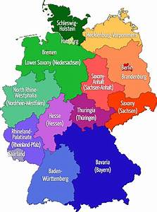 Map of GERMANY: 16 states - with both German/English names ...