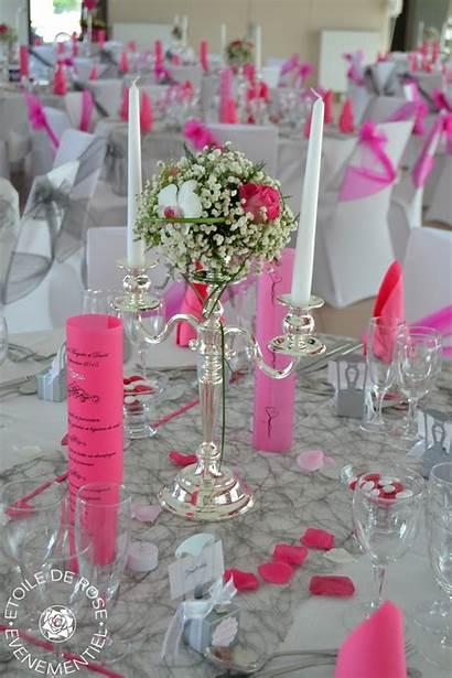 Mariage Decoration Gris Fushia Blanc Fuchsia Argent