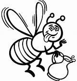 Bee Coloring Honey Cartoon Pages Queen Bees Printable Print Getcolorings Colorings Pollen Coloringsky Delicious sketch template