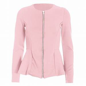 Womens Zip Peplum Ruffle Frill Tailored Blazer Ladies ...