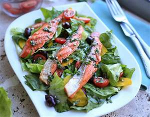 Grilled Salmon salad with Romaine and yellow beets ...