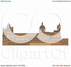Clipart of a Line Drawing Styled Italian Landmark, Palermo ...